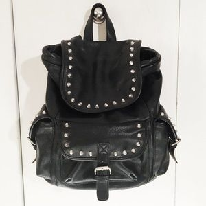 Handbags - Cute studded black leather backpack